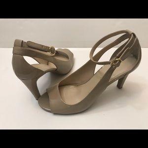 Franco Sarto beige open toe heel pump. Size 10,5